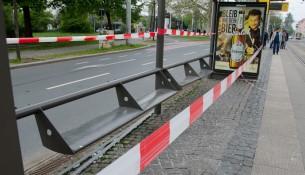 Die Haltestelle am Dresdner Alberplatz.