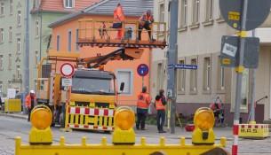 Die Dresdner Verkehrsbetriebe erneuern die Gleise an der Pennricher Straße