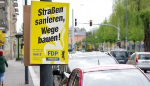 Ein FDP-Wahlplakat in Dresden-Gruna