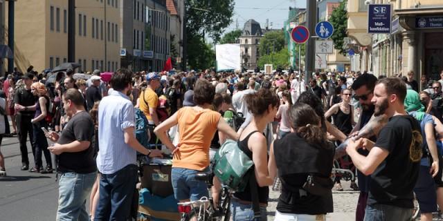Protest gegen Naziaufmarsch in Dresden