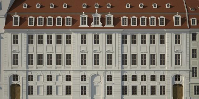 Die Gesellschaft Historischer Neumarkt fordert eine originalgetreue Gestaltung der Fassade für das Palais Riesch. Quelle: GHND