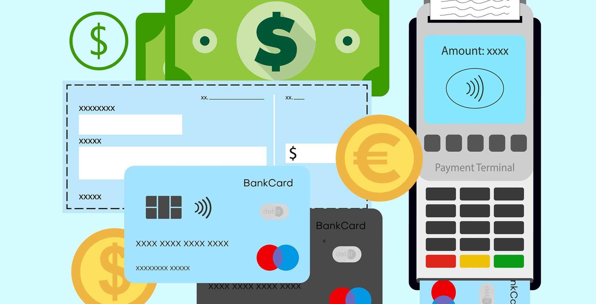 Geldscheine, Kreditkarte, Kartenzahlgerät im Comic-Style, nebeneinander angeordnet